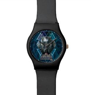 Reloj De Pulsera Modelo geométrico negro del carácter de la pantera