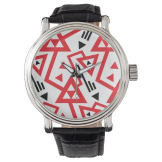 Reloj De Pulsera Modelo geométrico rojo y negro brillante