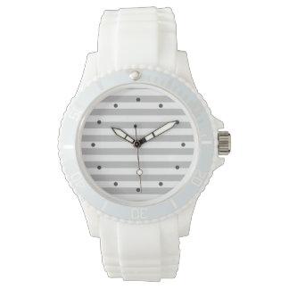 Reloj De Pulsera Modelo gris y blanco de la raya