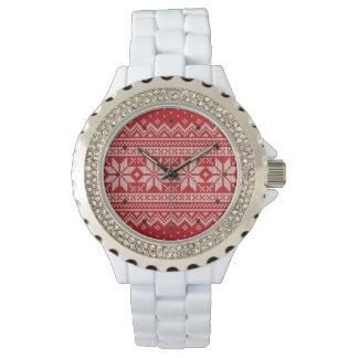 Reloj De Pulsera Modelo que hace punto del suéter del navidad -
