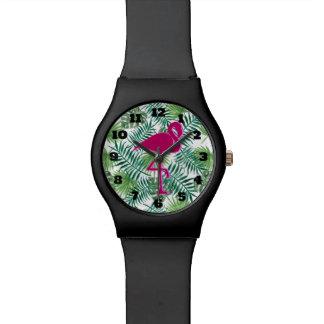 Reloj De Pulsera Modelo tropical de las hojas y flamenco rosado