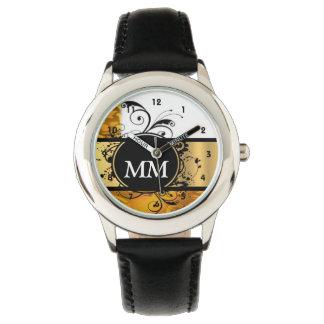 Reloj De Pulsera Monograma amarillo y negro en blanco
