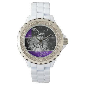 Reloj De Pulsera Monograma azul y de plata púrpura en negro