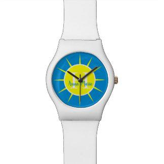 Reloj De Pulsera Monograma del amarillo de la sol y del azul del