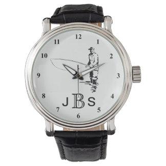 Reloj De Pulsera Monograma masculino blanco negro del pescador el |