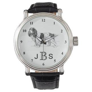 Reloj De Pulsera Monograma masculino inglés del perro de aguas de