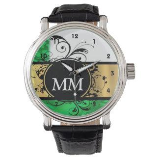 Reloj De Pulsera Monograma verde y negro en blanco