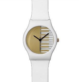 Reloj De Pulsera Música del teclado de piano del oro