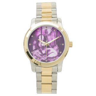 Reloj De Pulsera MÚSICA QUE HACE CAT CON el BÚHO, blanco púrpura