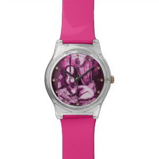 Reloj De Pulsera MÚSICA QUE HACE CAT CON el BÚHO, rosa púrpura