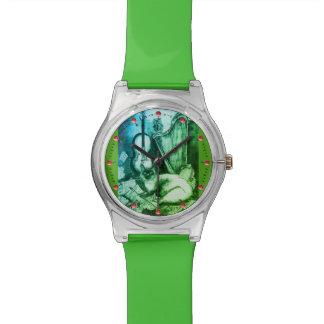 Reloj De Pulsera MÚSICA QUE HACE el CAT CON verde del BÚHO