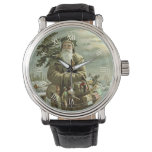 Reloj De Pulsera Navidad del vintage, Victorian Papá Noel con los