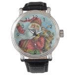 Reloj De Pulsera Navidad del vintage, Victorian Papá Noel en la