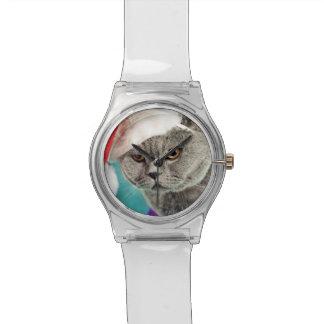 Reloj De Pulsera Navidad gris del gato - gato del navidad - gato
