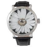 Reloj De Pulsera Negro de la correa de cuero del vintage de Mae de