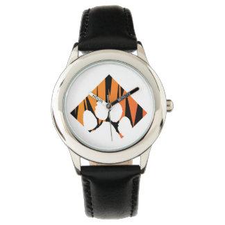 Reloj De Pulsera Negro del acero inoxidable de Tigerpaw