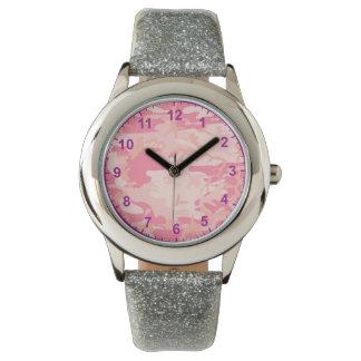Reloj De Pulsera números rosados de la púrpura del camuflaje