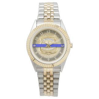 Reloj De Pulsera Oro conmemorativo fino del tributo de Blue Line