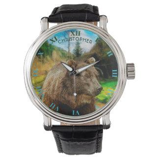 Reloj De Pulsera Oso grizzly grande y paisaje hermoso de las