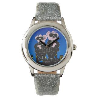 Reloj De Pulsera OSOS EN brillo NEGRO de la plata del DIBUJO