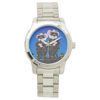 Reloj De Pulsera OSOS EN pulsera de plata de gran tamaño del DIBUJO