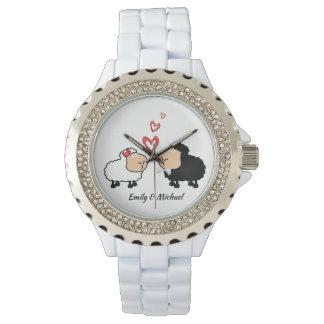 Reloj De Pulsera Ovejas divertidas lindas alegres adorables en amor