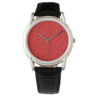 Reloj De Pulsera Paisley roja