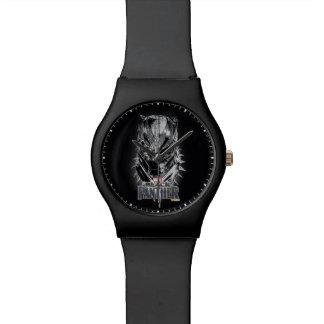 Reloj De Pulsera Pantera negra bosquejo principal negro y blanco