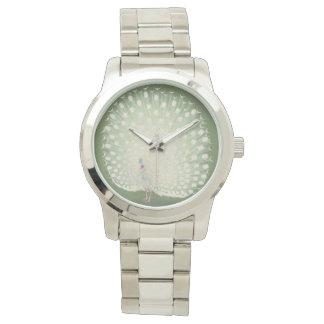Reloj De Pulsera Pavo real blanco japonés de la bella arte el | del