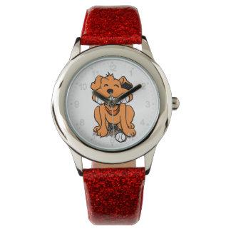 Reloj De Pulsera Perro con las bolas en la boca