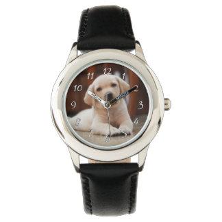Reloj De Pulsera Perro de perrito amarillo de Labrador del bebé que
