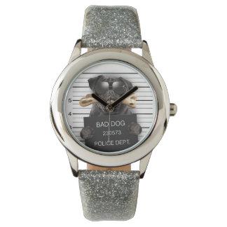 Reloj De Pulsera Perro del Mugshot, barro amasado divertido, barro