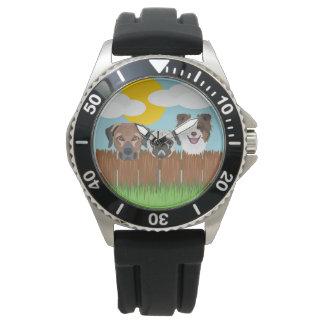 Reloj De Pulsera Perros afortunados del ilustracion en una cerca de
