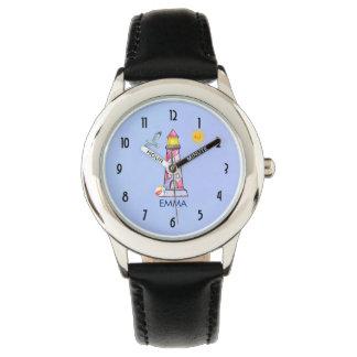 Reloj De Pulsera Personalizado rayado rojo del faro de la acuarela