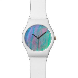 Reloj De Pulsera Piedra nacarada de la acuarela de Shell del olmo