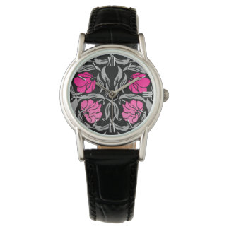 Reloj De Pulsera Pimpernel de William Morris, rosado y negro
