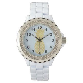 Reloj De Pulsera Piña del Glitz del oro