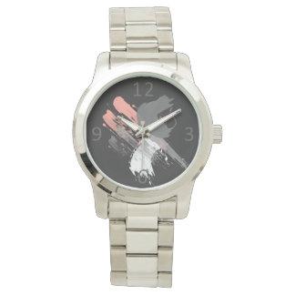 Reloj De Pulsera pinceladas blancas y grises rosadas coralinas