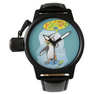 Reloj De Pulsera Pingüino de rey desesperado que dice malas