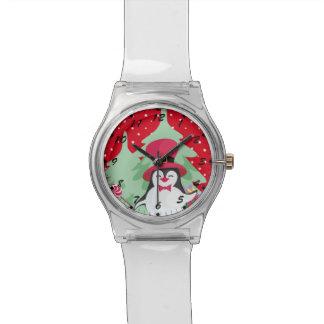 Reloj De Pulsera Pingüino festivo con el trineo - rojo