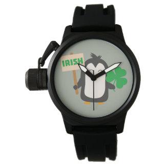 Reloj De Pulsera Pingüino irlandés con el trébol Zjib4