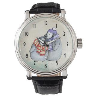 Reloj De Pulsera Pingüinos lindos en bufandas y gorras del invierno