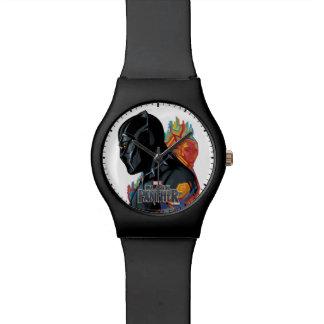 Reloj De Pulsera Pintada tribal de la pantera negra de la pantera