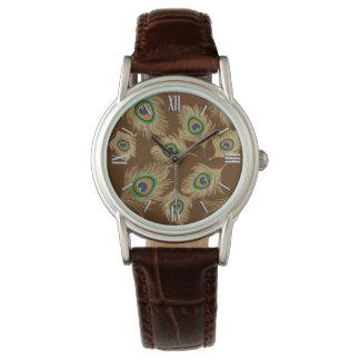 Reloj De Pulsera Plumas beige del pavo real en marrón