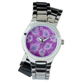 Reloj De Pulsera Plumas del pavo real de la orquídea en púrpura
