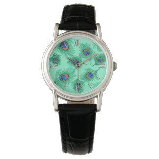 Reloj De Pulsera Plumas del pavo real de la turquesa en la