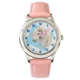 Reloj De Pulsera Ponía decorada en blanco sobre niños azules