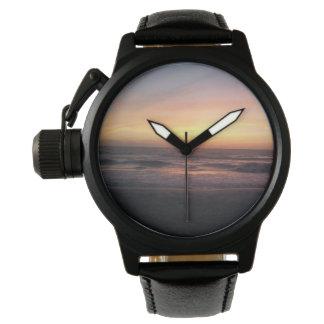Reloj De Pulsera Puesta del sol hermosa en la impresión de la playa
