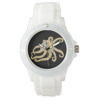 Reloj De Pulsera Pulpo azul del anillo en negro