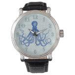 Reloj De Pulsera Pulpo azul del vintage con las anclas